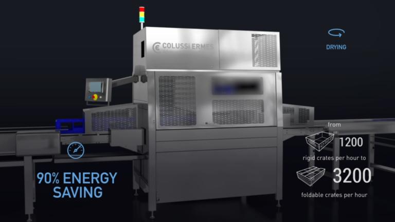 Die Zentrifugaltrockner für Kisten von Colussi Ermes gewährleisten eine Geschwindigkeit und die perfekte Trocknung von bis 4.200 Kiste/Stunde